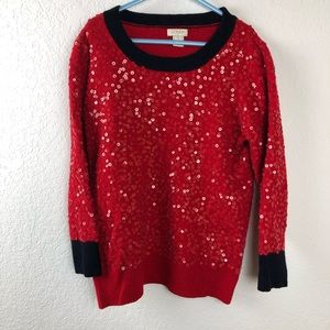 J Crew Girls Sweater, Red Sequins Small
